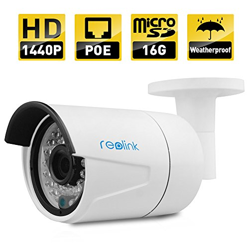 REOLINK RLC-410S-LB IP Camera, 4-Megapixel 1440P POE Security IP Camera Outdoor Bullet, Night Vision 65-100ft, Built-in 16GB Micro SD Card, Viewing Angle 80¡ã 2560x1440 - 100 Night Vision
