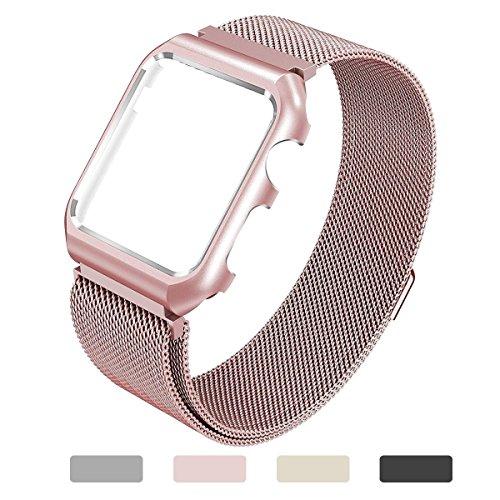 Apple Watch Correa 38mm & 42mm ,Yometome Banda de repuesto de acero inoxidable Cierre de cierre magnético Correa de iWatch para todos los 38mm Apple Watch Series 2 & Series 1