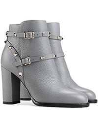 SONGYUNYANEuropa y la hebilla de metal de Europa oficina remaches gruesos botas y botines botas de moda mujer , gray , 44