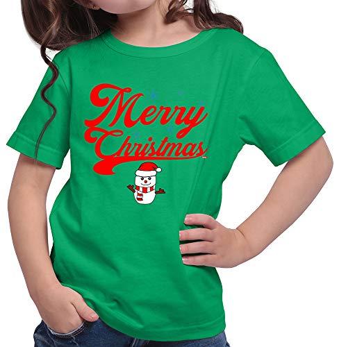 HARIZ  Mädchen T-Shirt Weihnachten Merry Christmas Stadt Weihnachten Weihnachts Familie Tannenbaum Plus Geschenkkarte Grün 116/5-6 Jahre