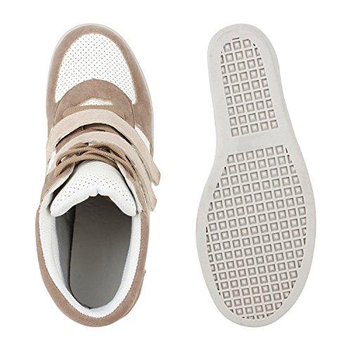 Stiefelparadies - Scarpe con plateau Donna Marrone (Marrone chiaro)