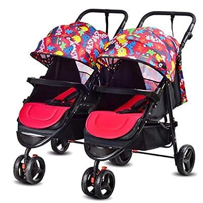 BABY STROLLER ZLMI Cochecito de bebé Gemelo Desmontable Doble triplete Multi-niño Cochecito Plegable Puede Sentarse 0-3 años de Edad,F
