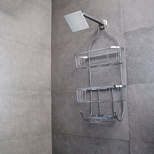 Livzing 3 Tier Bathroom Shelf Hanging Shower Head Caddy Holder Organizer Metal Chrome Plated Storage for Shampoo Conditioner Soap Towels