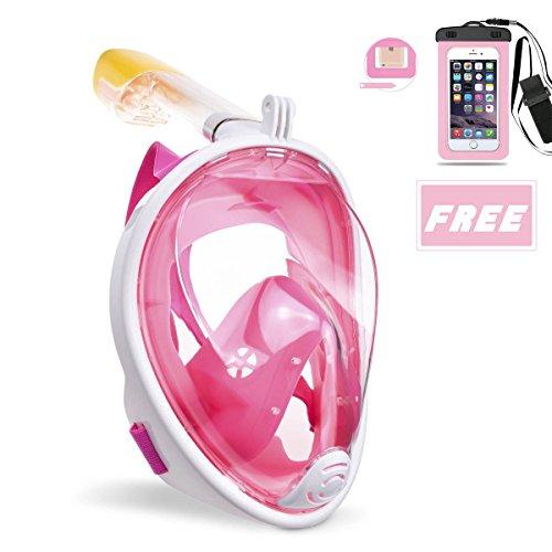 OCEVEN Schnorchelmaske Vollmaske, Tauchmaske Anti-Fog und Anti-Leck-Technologie mit 180 Grad Blickfeld für Kinder und Erwachsene (Rosa, L/XL) + IPX8 Wasserdichte Tasche (Rosa)