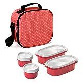 TATAY Urban Food Dots - Borsa termica porta alimenti con contenitori ermetici inclusi,rosso
