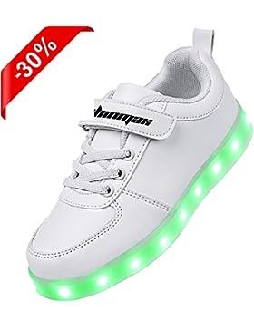 [Sponsorizzato]Shinmax Scarpe LED 7 Colori di Ricarica USB Kid Pattini Casuali Lampeggianti Scarpe da Tennis del Ragazzo e Ragazza...