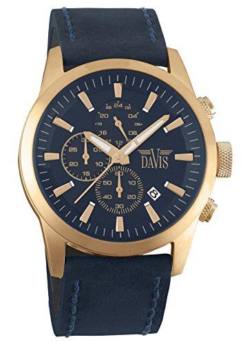 Davis 1962-Reloj piloto para hombre de oro rosa, esfera azul de 44mm con cronógrafo sumergible hasta 100 metros, correa de piel azul
