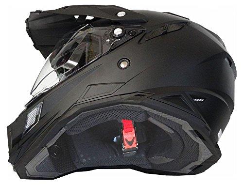 Motorradhelm MX Enduro Quad Helm matt schwarz mit Visier und Sonnenblende Gr. XL - 2