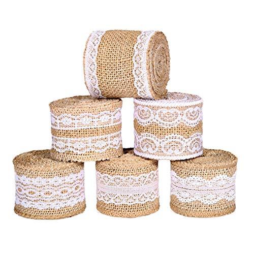 Rotolo di nastro di iuta con pizzo bianco con elementi naturali di iuta tessuto nastri per progetti fai da te confezione regalo di natale decorazioni