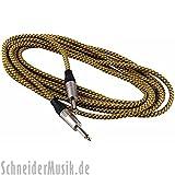 RockCable RCL 30205 TC Instrumentenkabel (Textilummantelung) Klinke - Klinke 5m, gold