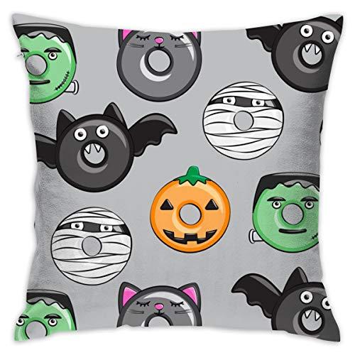 odin sky zierkissenbezug 45x45 Halloween Donut Medley - Grau - Monster Kürbis Frankenstein Black Cat Dracula_4417 100% Baumwolle, Wohnzimmerdekoration, Heimsofa, Büro, Auto.