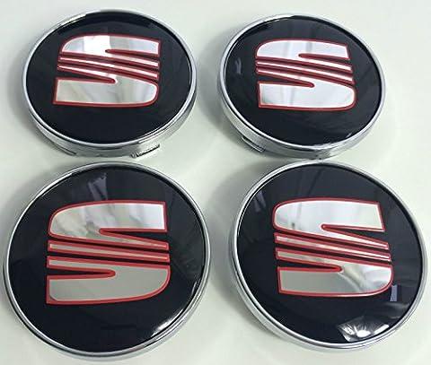 4 X SEAT Rouge Noir Chrome Logo Emblème badge de