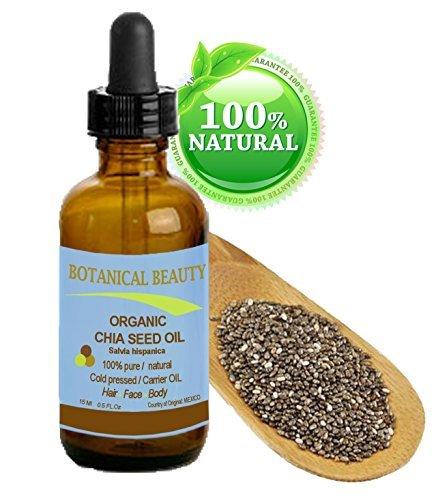 Chia huiles de graines BIO. 100% / non dilué / froid naturel huile pure pressée pour la peau, les cheveux, les lèvres et les soins des ongles - 15ml. \