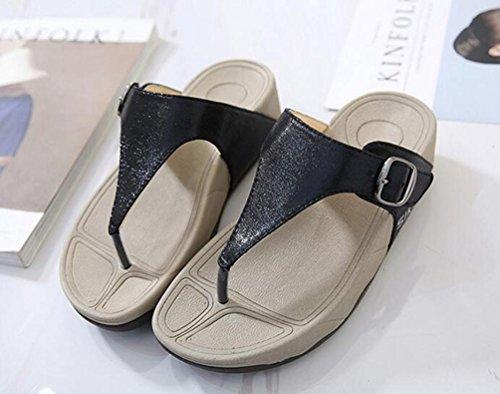 Flip Flop Scarpe cinghie di cintura Wearable 4cm morbido comodo tallone donne Pantofole Casual UE misura 35–40 nero