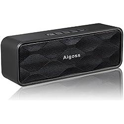 Aigoss Haut-Parleur Portable stéréo sans Fil Bluetooth 4.2 Son Haute définition et Basses améliorées avec Pilote intégré, appels Mains Libres, Radio FM, Emplacement pour Carte TF - Noir