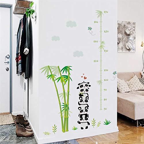 QWHUA Panda Bambus Höhe Maßnahme Wandaufkleber Für Kinderzimmer Wachstumstabelle Wandtattoos Poster Kunst Wandbild