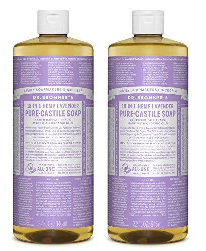 Bronners Magic Soaps Kastilien Seife (Dr. Bronner Magic Soaps Pure-Kastilien Seife, 18-in-1 Hemp Lavendel, 32-Unzen-Flaschen (2er Pack))