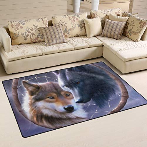 XiangHeFu - Alfombra Antideslizante para salón, Comedor, Dormitorio, diseño de Lobo y atrapasueños, 5,08 x 2,54 cm, Image 285, 60x39 Inches