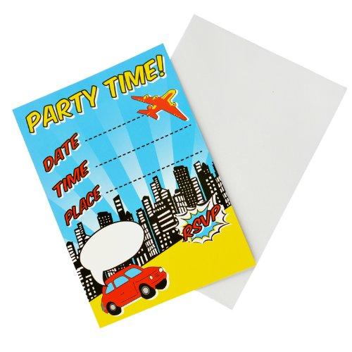 Einladungen - Pop Art Superhero KinderGeburtstagsfeier (Thema Partei Superhelden)