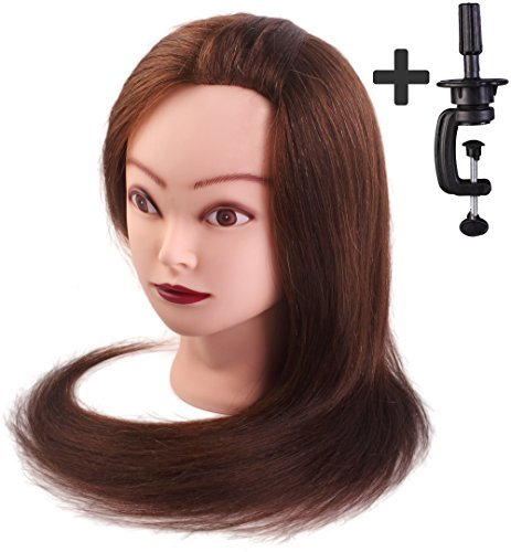 Tête à coiffer de cosmétologie 50 cm, 70% cheveu humain, 30% cheveu animal avec serre-joint de table. Couleur brune
