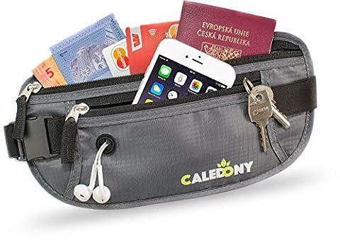 Reise Bauchtasche Hüfttasche mit RFID-Blockierung - Geldgürtel zum Sport, Reisen und Joggen, Verstellbaren Hüftgurt für Damen und Herren - enganliegend und wasserabweisend, CALEDONY Flache (Van Sicherheitsgurt)