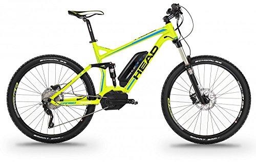 Bicicleta Electrica de montaña doble suspensión 27,5 pulgadas 500W HEAD FARGO amarillo mate
