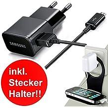 Original Samsung 3in1 Set Ladegerät Datenkabel Micro USB Set ETA-U90E 2000mah Schwarz für Samsung Galaxy ! Gratis !Stecker Halterung ! Passend alle Galaxy Modelle