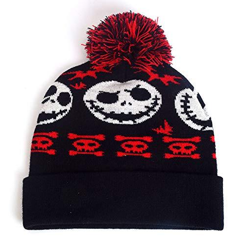 ERQINGM Damen Strickmütze Mode Mädchen Wintermütze Für Frauen Beanie Schädel Print Hut Mütze Femme Hip Hop Halloween