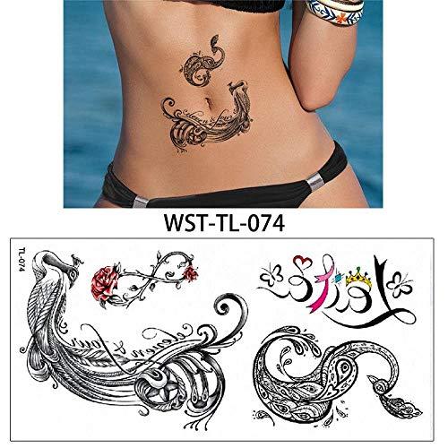 1 Stück Tätowierung Schmuck Körper temporäre Brust Taille Kunst Tattoo Aufkleber, D -