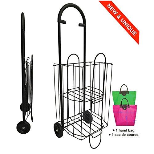 Einkaufstrolley aus Metall 47L - Double Level Korb - Faltbar