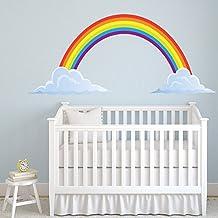Arco iris vinilos decorativo Nubes adhesivos pegatina pared Guardería Infantil Decoración del hogar Disponible en 8 Tamaños Mediano Digital
