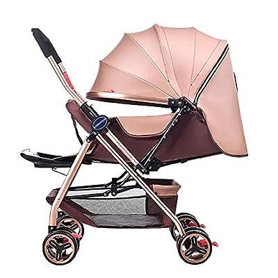 Yhz@ Cochecito de bebé Ligero Portable High Landscape Puede Sentarse y acostarse Plegable Simple Handle Reversible Suspension Neonatal Buggy Baby Trolley Sillas de Paseo (Color : Caqui)