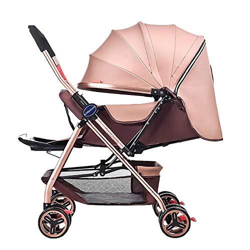 Yhz@ Kinderwagen Lightweight Portable High Landschaft kann sitzen und hinlegen Faltbare einfache Handle Reversible Suspension Neugeborenen Buggy Baby Trolley Buggys (Farbe : Khaki)