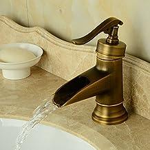 Hiendure® Ottone bagno miscelatori lavabo rubinetti lavandino del bagno cascata mount ponte un foro una maniglia, ottone anticato