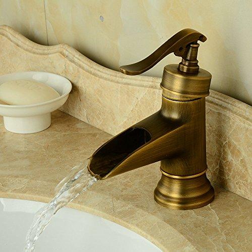 Hiendure Ottone bagno miscelatori lavabo rubinetti lavandino del bagno cascata mount ponte un foro una maniglia ottone anticato