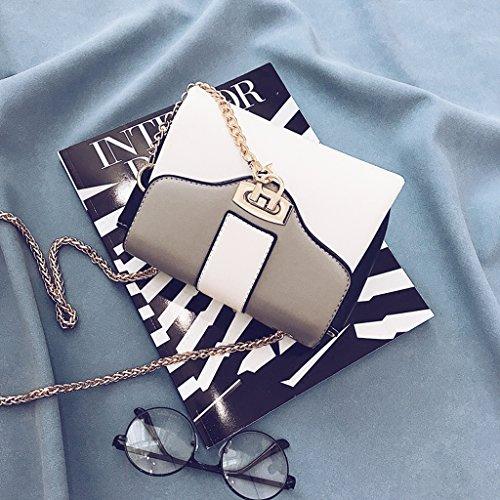 Borsa in pelle in pelle borsa a tracolla per donne con catena in metallo,Gray Gray