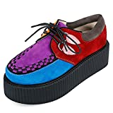 RoseG Femmes Lacets Plate Forme Gothique Punk Creepers Casual Chaussures Multicolore...