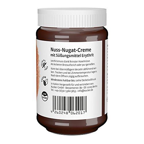Xucker Nuss-Nugat-Creme Brotaufstrich mit Erythrit, ohne Palmöl, zuckerarm, 33% Haselnussanteil, 300g Glas