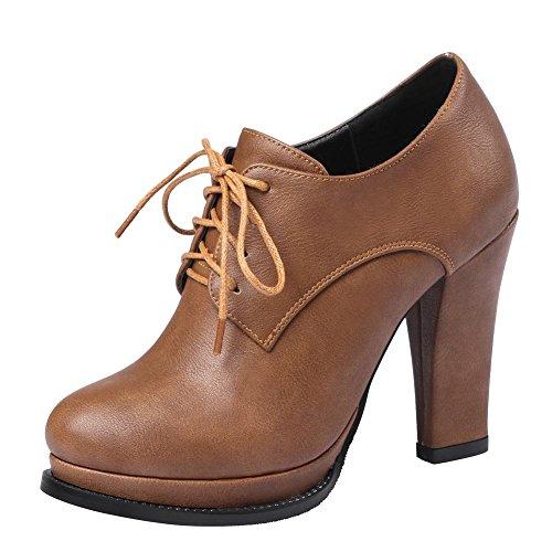 Mee Shoes Damen high heel mit Schnürsenkel Ankle Boots Braun