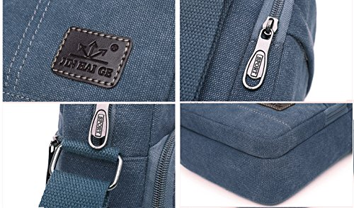 EssVita Vintage Umhängetasche Männer Retro Kleine Leinwand-Cross Body Handtasche Schultertasche Schwarz Blau