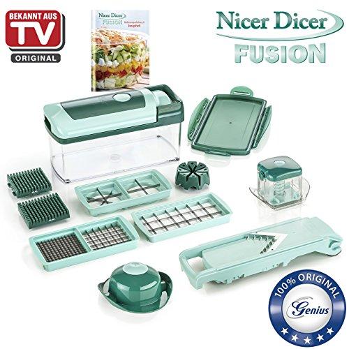 Genius Nicer Dicer Fusion | Mandoline 13 en 1 Multifunction Professionelle | Trancheuse | couper- / râpé- / éplucher- / cubes- / quartier- / spirales- / manger- / légumes | Slicer | Cuisine