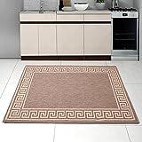Teppich SISAL Optik in Taupe Beige - Modern Küche Flachgewebe Küchenteppich - Griechisch Muster Kaffee - Sehr Robust Öko-Tex