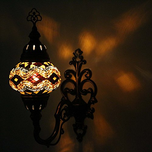 Turkish Mosaic Sconce Wall Lamp, Stunning Moroccan Style Handmade with large size (14cm) Glass Globe by TK Bazaar (HAGIASOPHIA)