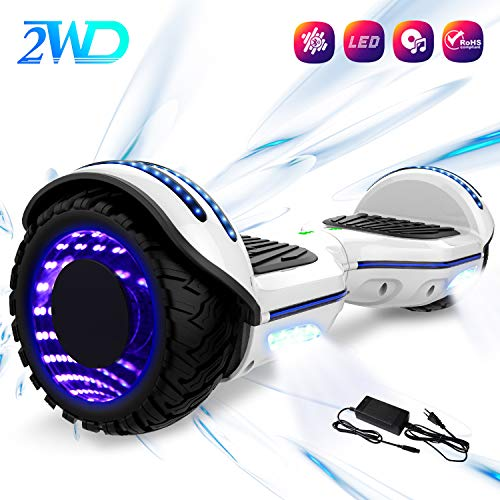 2WD Hoverboard 6.5 '' Scooter eléctrico Las Ruedas LED Luces Self Balance Scooter con Bluetooth, Scooter eléctrico 6.5'-UL2272 Certificado monopatín eléctrico 2 * 350W