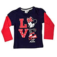 Kids Girls Disney Minnie Mouse Mickey Mouse Clubhouse Diamante 100% Cotton Long Sleeve T-Shirt Top Childrens Size 4 Years
