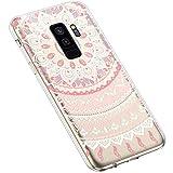 Uposao Kompatibel mit Samsung Galaxy S9 Plus Handyhülle Transparent TPU Silikon Schutzhülle Bunte Gemalt Muster Durchsichtig Case Crystal Clear Handytasche Anti-Kratzer Stoßfest,Mandala Rosa