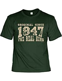 SINCE 1947 cooles Jahrgangs T-Shirt für Opa zum 70. Geburtstag 70 Jahre Geburtstagssprüche zum 70. Geburtstag SINCE 1947 THE REAL KING bedruckt Geburtsjahr 1947 Opa Geschenke Idee : )