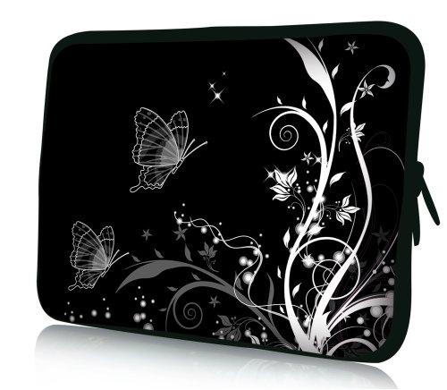 wortek Universal Notebook Tasche aus Neopren für Notebooks bis ca. 17,3 Zoll - Ranke Schwarz Weiß Schmetterling