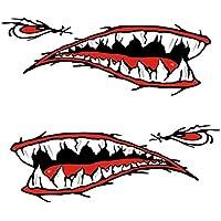 MagiDeal 2 Pedazos de Dientes de Tiburón Etiqueta Engomada de Boca Etiquetas Engomadas para Kayak Coche Barco