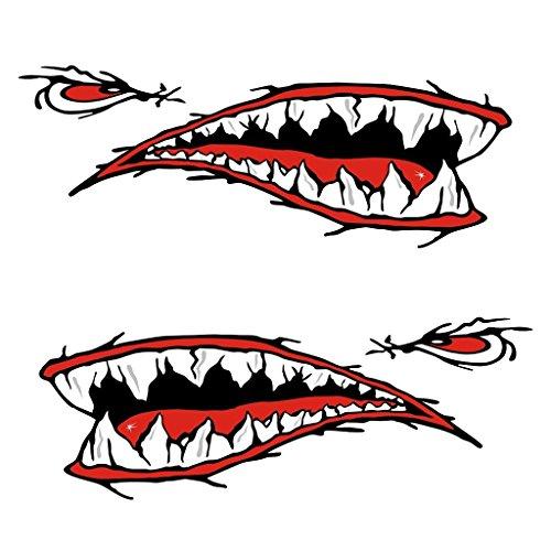 MagiDeal 2 Pièces Bouche Dents de Requin Autocollants Stickers Décalcomanies pour Kayak Canoe Pirogue Dinghy Bateau